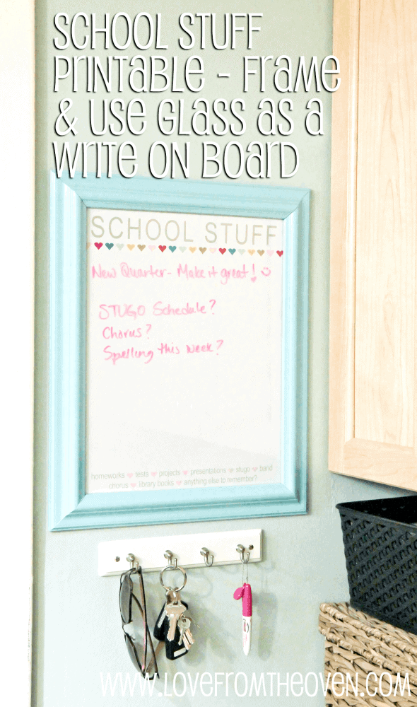 School Stuff Free Printable by Love From The Oven