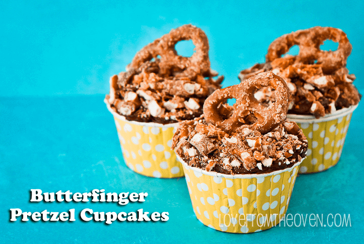 Butterfinger Pretzel Cupcakes by Love From The Oven