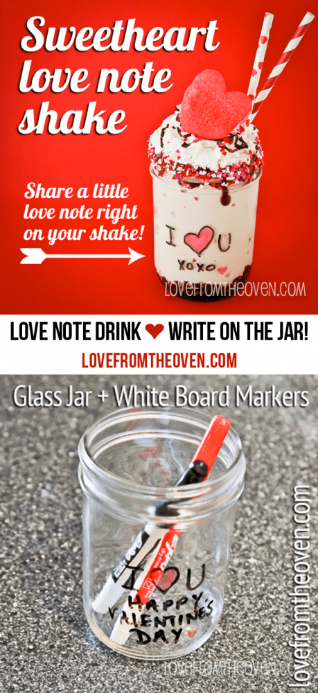 Love Note Drink! This is so cool, you write right on a mason jar using white board markers! So fun.