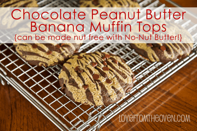 Chocolate & Peanut Butter (or No-Nut Butter) Muffin Tops