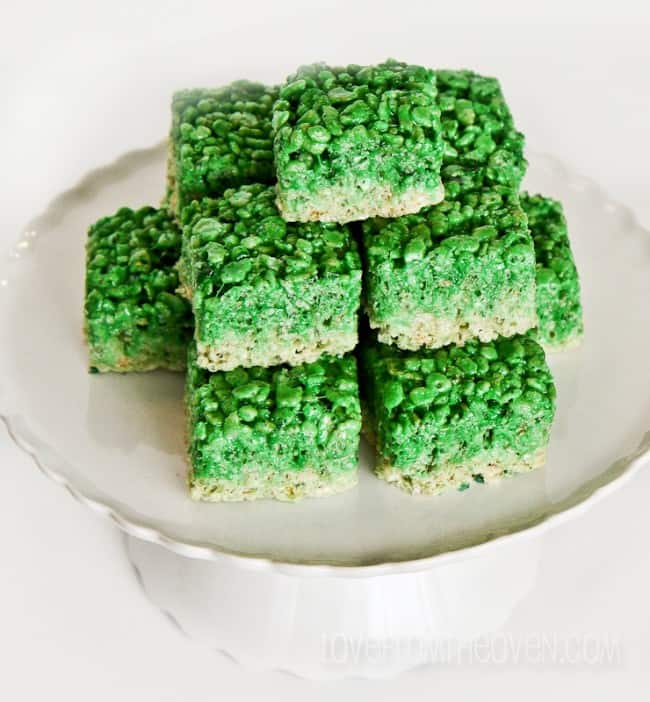 Green Ombre Rice Crispy Treats by Love From The Oven