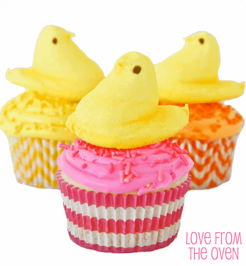 Pretty PEEPS Cupcakes For Easter & Spring by Love From The Oven