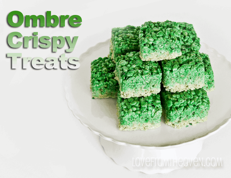 Ombre Green Rice Crispy Treats - Love From The Oven