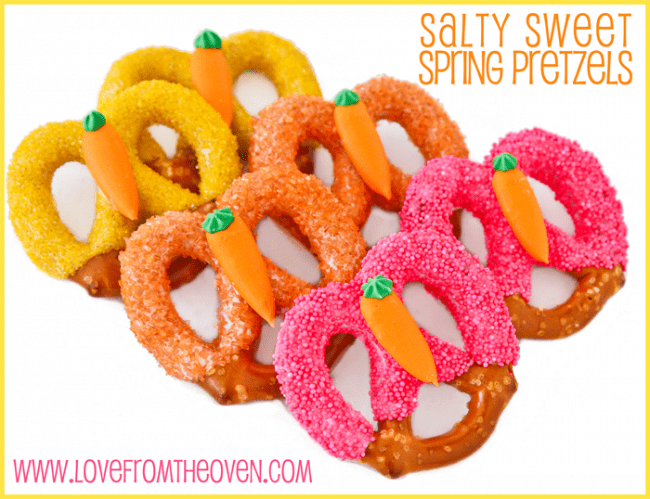 Salty Sweet Spring Pretzels by Love From The Oven