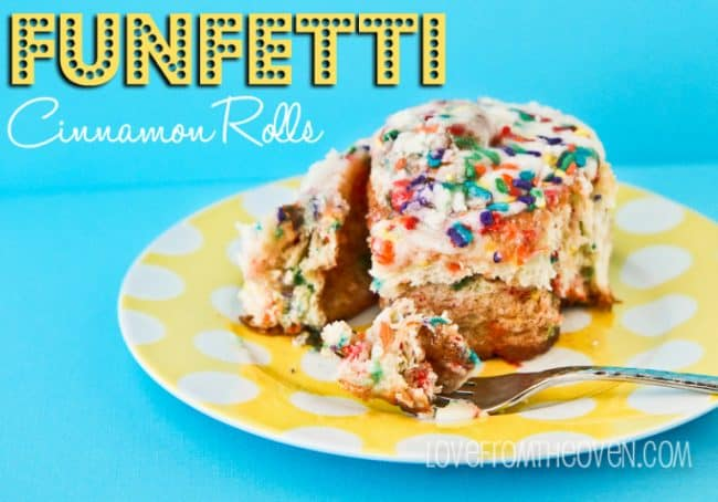Funfetti Cinnamon Rolls - Great For Birthday Breakfasts by @LoveFromTheOven