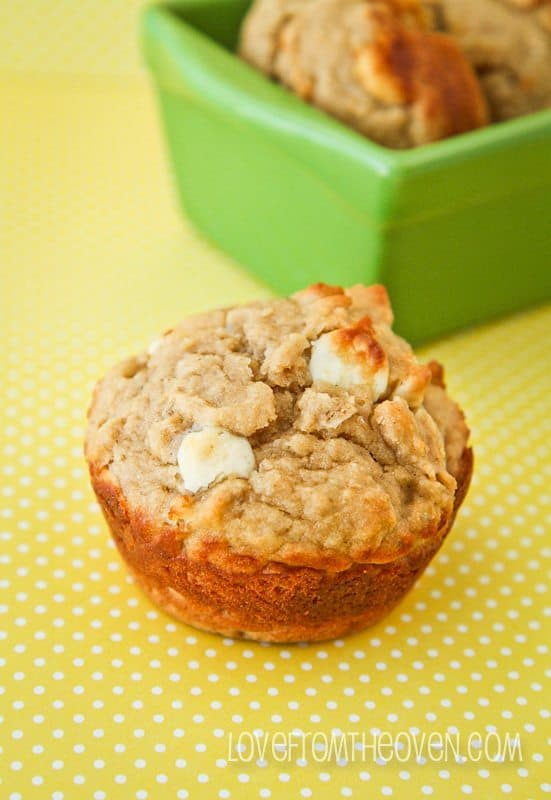 Peanut Butter Banana White Chocolate Chip Muffin Recipe by Love From ...