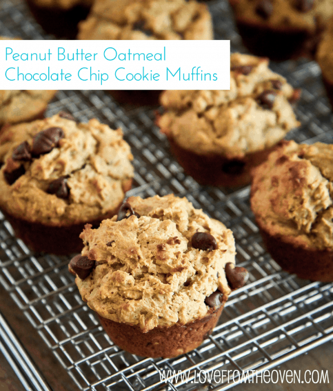 Peanut Butter Oatmeal Chocolate Chip Cookie Muffins