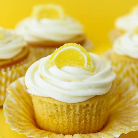 Lemon cupcakes on a yellow background