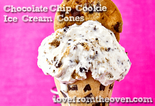 Chocolate Chip Cookie Ice Cream Cones by Love From The Oven