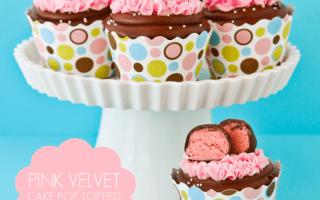 Pink Velvet Cake Pop Topped Cupcakes