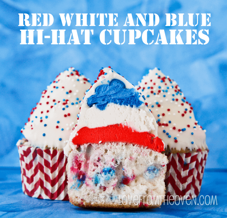 Red White And Blue Hi Hat Cupcakes by Love From The Oven