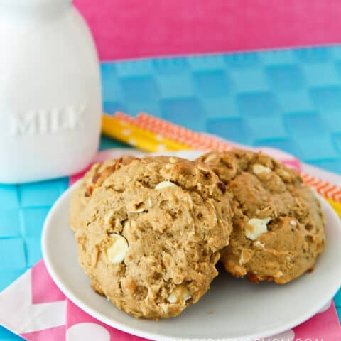 Breakfast cookies on a white plate.