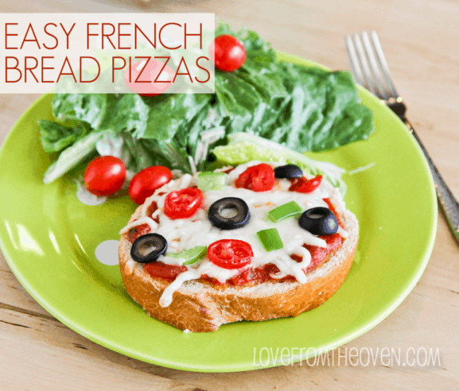 Easy French Bread Pizzas by Love From The Oven