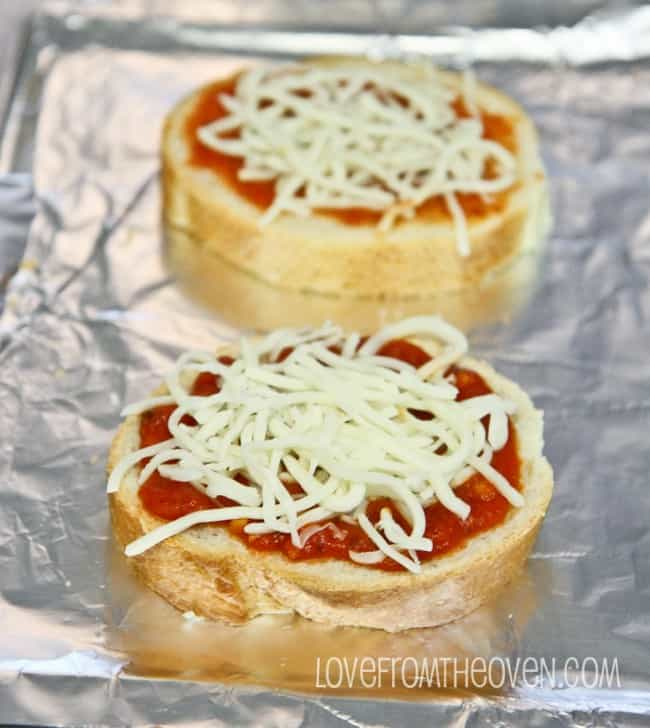 Mini pizzas on a tray