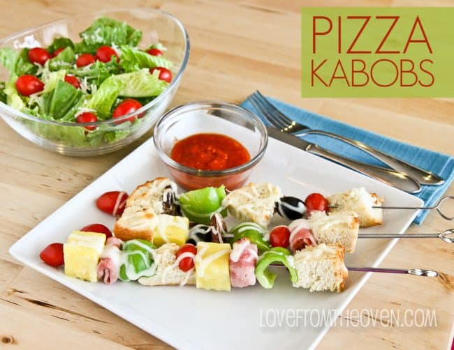A plate of pizza kabobs