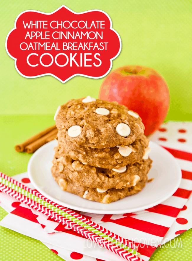 Apple Cinnamon Oatmeal Breakfast Cookies - Love From The Oven