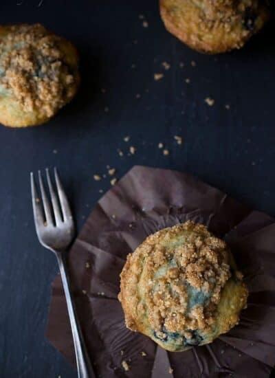 Blueberry muffins on a dark background