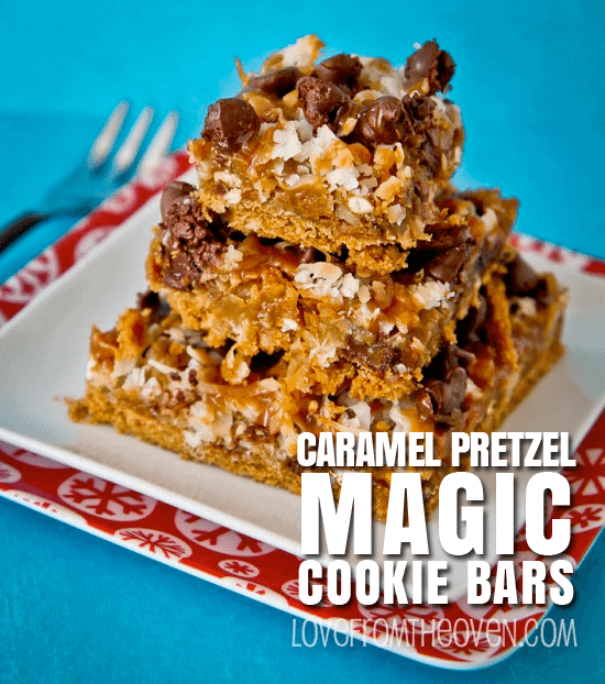 Caramel Pretzel Magic Cookie Bars