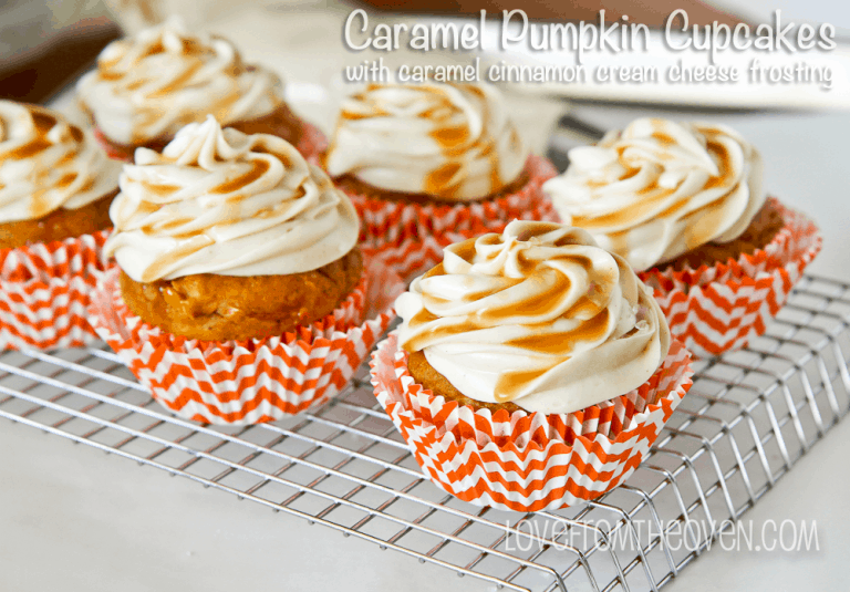 Caramel Pumpkin Cupcakes by Love From The Oven