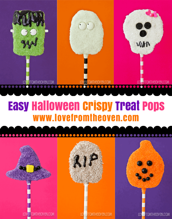 Easy Halloween Crispy Treat Pops