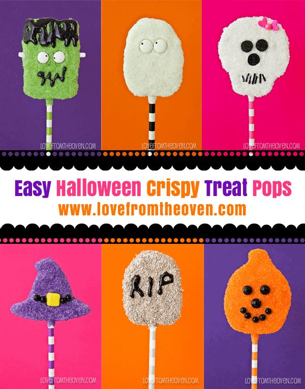 Easy Halloween Crispy Treat Pops