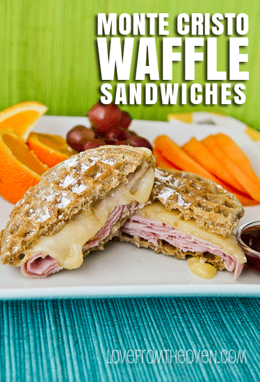 Monte Cristo Waffle Sandwiches by @LoveFromTheOven
