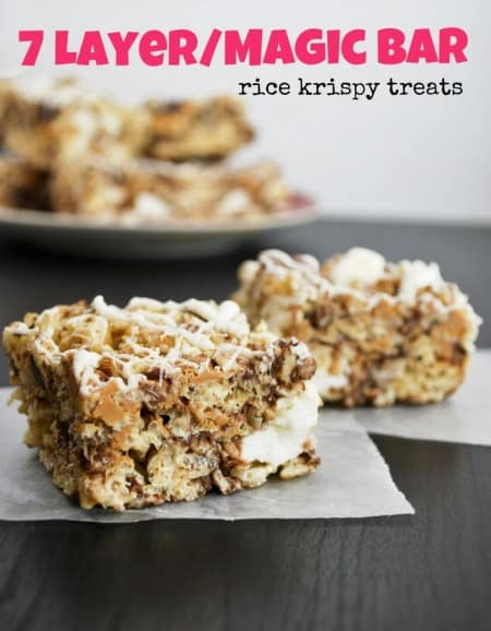 7 Layer Magic Bar Rice Krispies Treats by Mallow And Co.