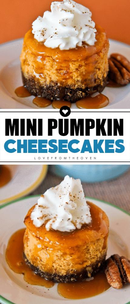 Mini Pumpkin Cheesecakes #pumpkincheesecake #minipumpkinpie #pumpkindesserts #thanksgivingdesserts