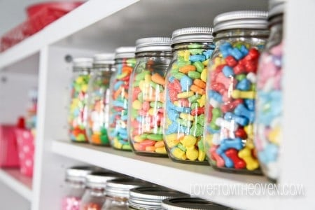Displaying and storing candy in jars