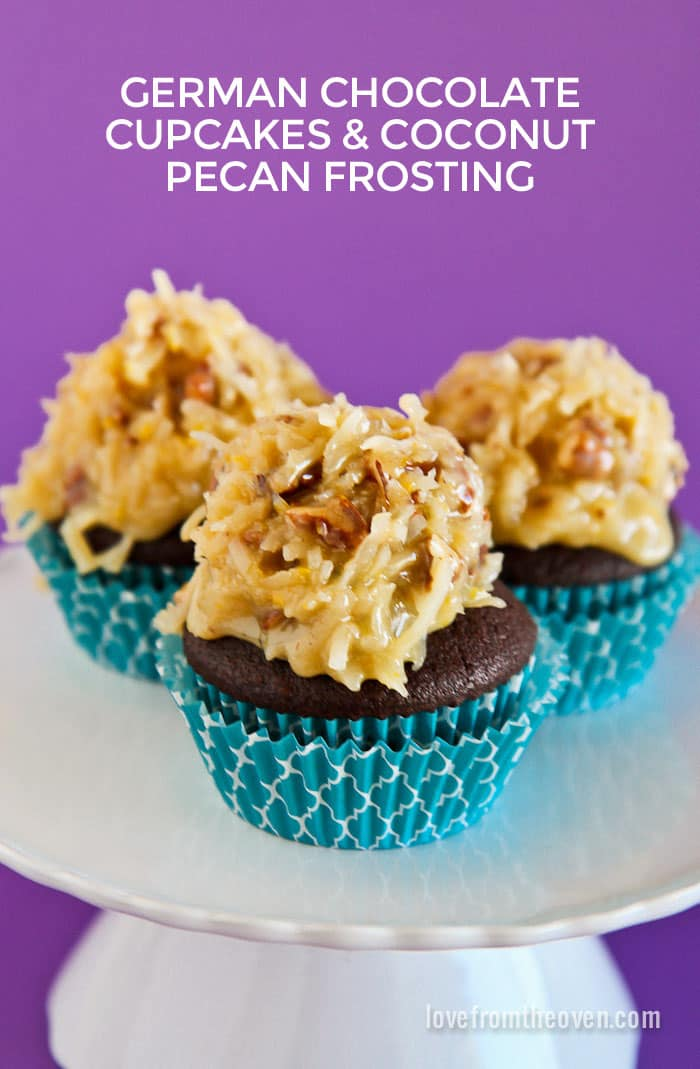 German Chocolate Cake Cupcakes With Coconut Pecan Frosting - Love From ...