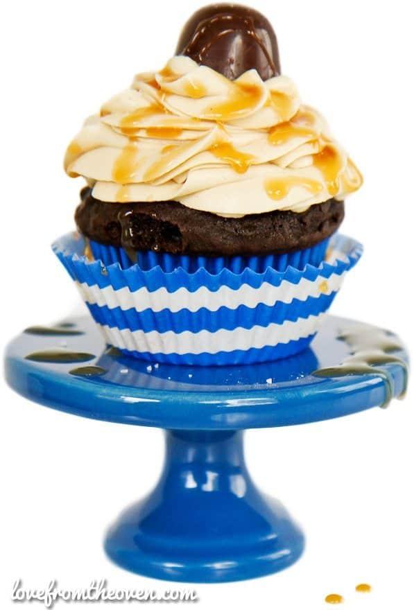 Dark Chocolate Peanut Butter Salted Caramel Truffle Cupcakes