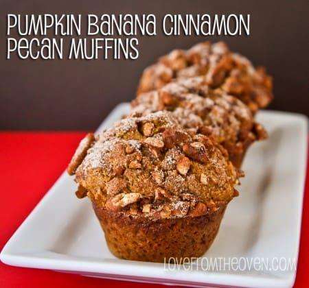 Pumpkin Banana Cinnamon Pecan Muffins