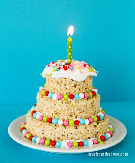 Fantastic Rice Krispies Treats Mini Cakes Love From The Oven Funny Birthday Cards Online Sheoxdamsfinfo