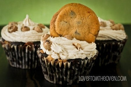 Chocolate Chip Cookie Brownie Cupcakes With Cookie Dough Frosting