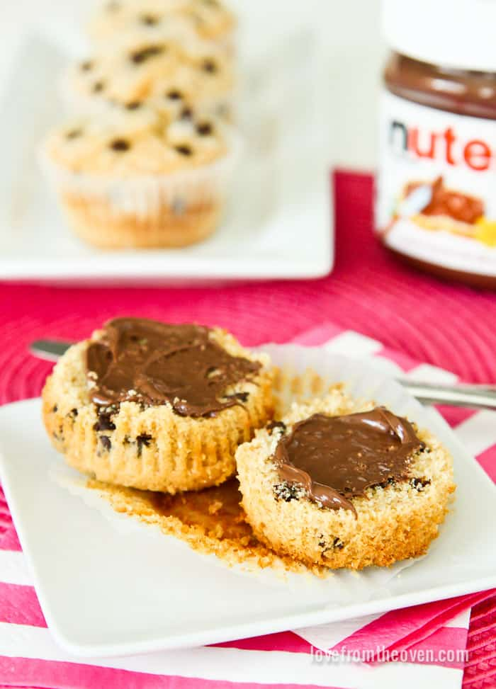Chocolate Chip Muffins Topped With Nutella.  Such a happy breakfast!