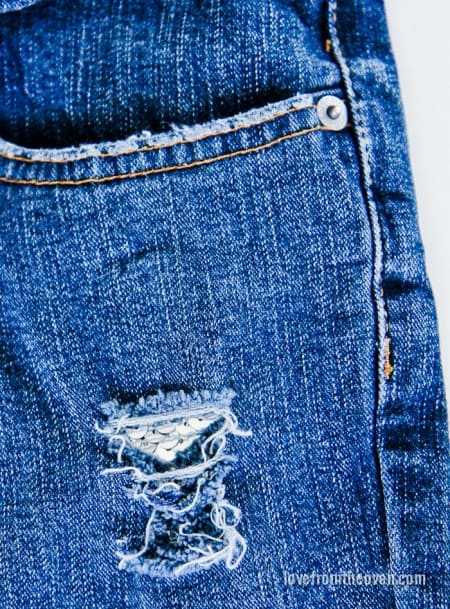 Adding sequins to jeans