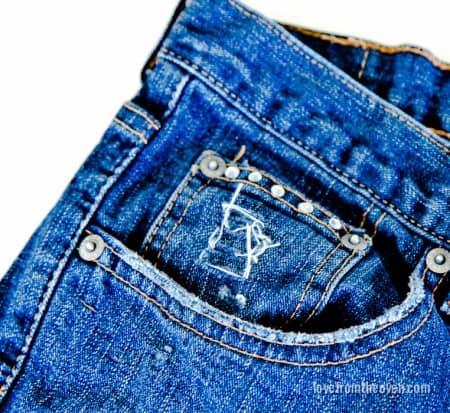 Adding crystal rhinestones to jeans
