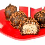 Dark Chocolate Chunk Cookie Dough Pops at Love From The Oven