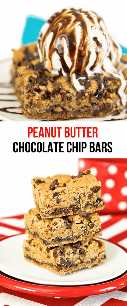 Peanut Butter And Chocolate Chip Bars. Delicious served cold or warm, with ice cream on top!