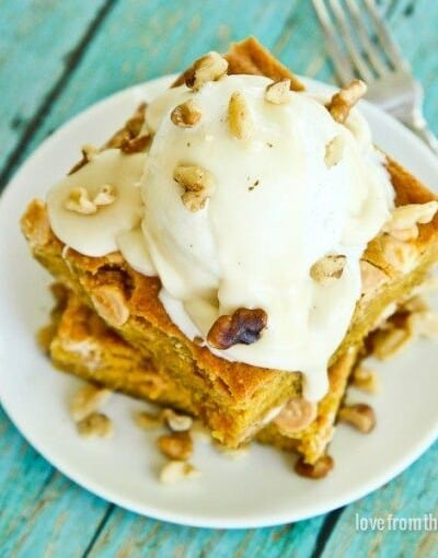Pumpkin Snack Cake With Cream Cheese Topping