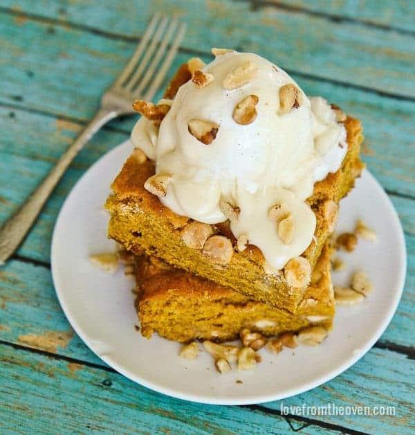 Pumpkin Snack Cake With Maple Cream Cheese Glaze