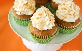 Pumpkin Cupcakes With A Delicious Caramel Cream Cheese Frosting