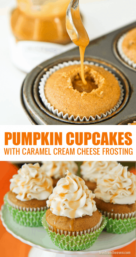 Pumpkin Cupcakes With A Caramel Cream Cheese Frosting. These cupcakes ...