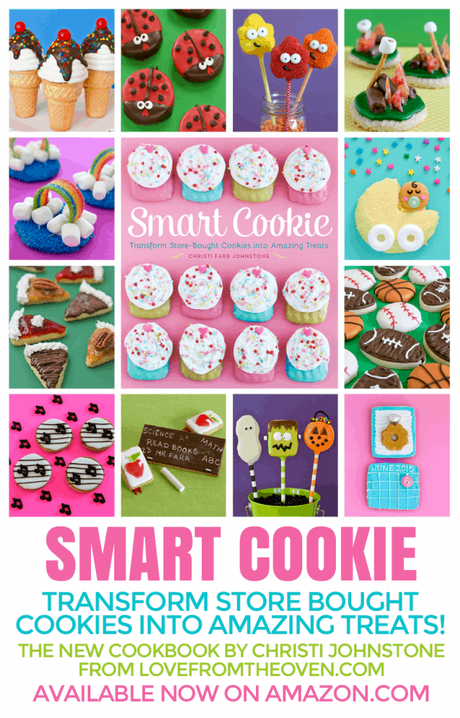 Smart Cookie Cookbook.  This book shows you how to totally transform store bought cookies (or bake your own if you prefer).  So much fun, so many cute ideas!  By Christi Johnstone of Love From The Oven
