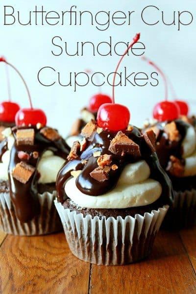 Butterfinger Cupcake Sundaes