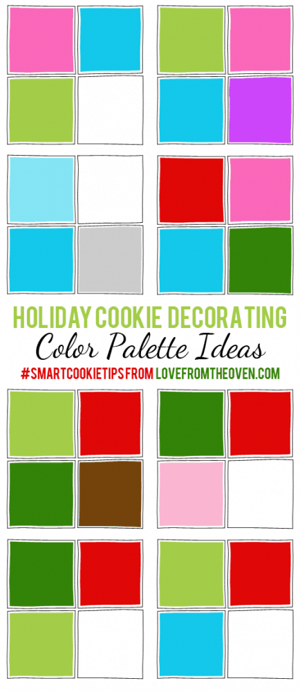 Christmas Cookie Decorating Ideas. Great color combos to use for your Christmas Cookies. #smartcookietips