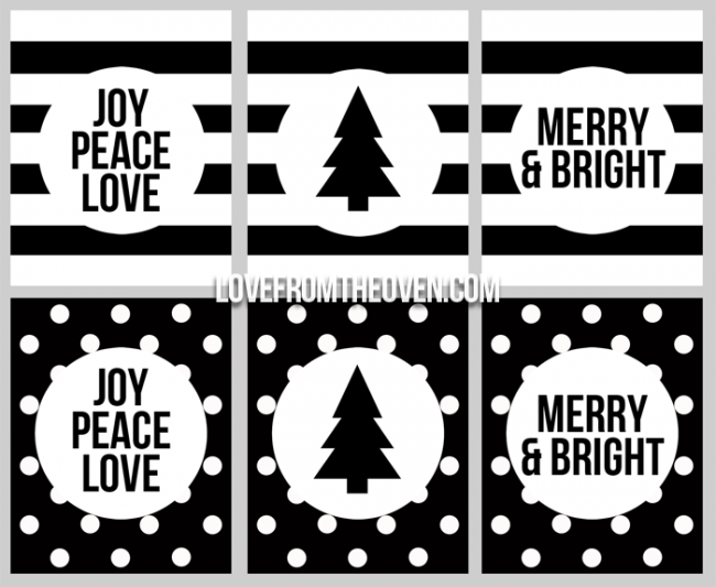 Black And White Holiday Printables
