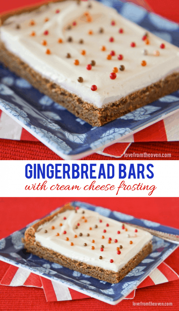Easy gingerbread bars with cream cheese frosting. These are SO delicious, moist, chewy, perfect for the holidays.