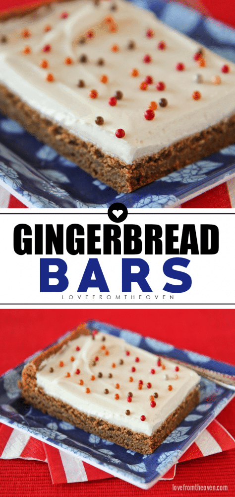 Gingerbread Bars With Cream Cheese Frosting #gingerbread