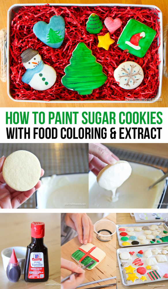 Painting Sugar Cookies With Food Coloring And Flavor Extracts